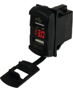 Seadog Double USB Rocker Switch Style Voltmeter W/Hidden Display