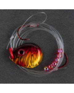Berkley Flicker Rig - Hook Ct or Type/Size: front 2/back 4, Color: Blade-Black Gold Sunset/Bead-Red WRFRMC5-BGS