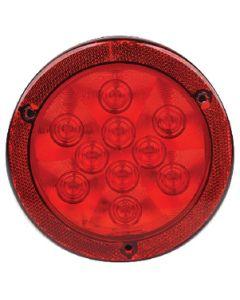 "Led Tail Rnd 10 Leds Rflx Red - Led 4"" Round Sealed Light W/Reflex Mounting Flange"