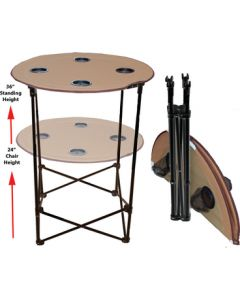 Prime Products Canvas Table 2 Heights 4 Cups - Canvas Folding Table W/ Cup Holders
