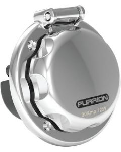 Furrion 30A Power Inlet, 30A Round, Stainless Steel