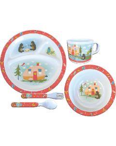 Dish Set-5Pc Owl&Bear Campsite - 5 Piece Kid'S Set
