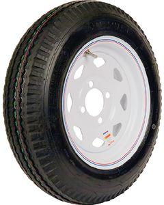 Loadstar Kenda Bias Tire & Spoke Steel Wheel Assembly, LRC, White with stripe, 4 on 4