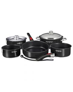 Magma Nesting 10-Piece Induction Compatible Cookware - Jet Black Exterior & Slate Black Ceramica Non-Stick Interior