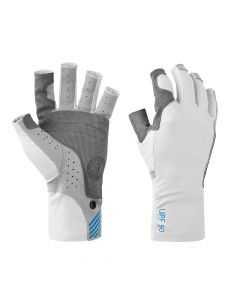 Mustang Traction UV Open Finger Fishing Glove - Light Gray/Blue - Small