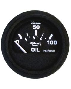 "Faria Heavy-Duty Black 2"" Oil Pressure Gauge (100 PSI)"