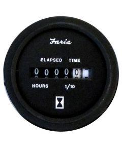 "Faria Heavy-Duty Black 2"" Hourmeter (10,000 hrs) (12 VDC)"