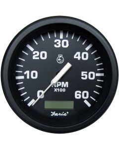 "Faria Heavy-Duty Black 4"" Tachometer w/Hourmeter (6000 RPM) (Gas)"