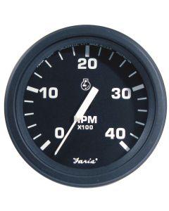 "Faria Heavy-Duty Black 4"" Tachometer (4000 RPM) (Diesel) (Alternator/Pulse Pick-Up)"