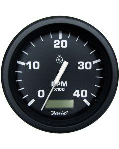 "Faria Heavy-Duty Black 4"" Tachometer w/Hourmeter (4000 RPM) (Diesel) (Alternator/Pulse Pick-Up)"