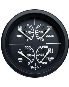 "Faria Heavy-Duty Black 4"" Multifunction [Fuel Level | Oil PSI (100 PSI) | Water Temp (120°-250° F) | Voltmeter (10-16 VDC)]"
