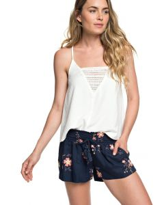 Roxy Women's Oceanside Beach Shorts Viscos Dress Blues Spaced Floral