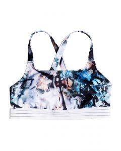 Roxy Women's Fitness Sporty Bra Bikini Top Bachelor Button Water of Love