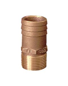 Groco Straight Pipe To Hose Barb Fitting, Full Flow, 1 Npt X 1-1/8 Hose Id