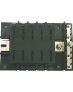 MarineWorks ATO/ATC Style Fuse Block with Ground, 10-Gang, 30A per Circuit, 160A Total for Block