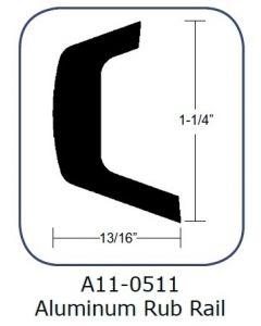 "Taco Marine Taco Rub Rail 1-1/4"" Aluminum 20'"