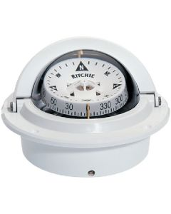 Ritchie Voyager Compass,  Direct Reading Dial,  Flush Mount,  White