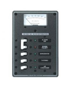 Blue Sea Systems AC Circuit Breaker Main + 3 Position Panel with Voltmeter, 120V