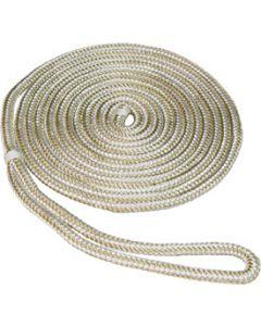 "Seasense 5/8""x25' Double Braid Nylon Dock Line, Gold & White, 15"" Eye Splice"