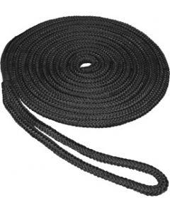 "Seasense 3/8""x15' Double Braid Nylon Dock Line, Black, 10"" Eye Splice"