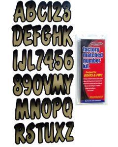 """Hardline Series 200 3"""" Boat Decal Letter/Number Set, Beige/Black"""