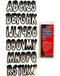 "Hardline Series 200 3"" Boat Decal Letter & Number Set, White/Black"