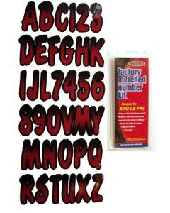"""Hardline Series 200 3"""" Boat Decal Letter & Number Set, Burgundy/Black"""