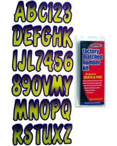 """Hardline Series 200 3"""" Boat Decal Letter & Number Set, Yellow/Purple"""