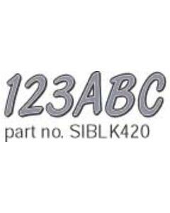 """Hardline Series 420 3"""" Boat Decal Letter & Number Set, Silver/Black"""