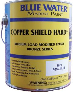 Blue Water Marine Paint Copper Shield Hard, Royal Blue, Gallon, 35 Copper
