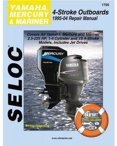 Seloc Yamaha Mercury Mariner Outboards 2.5-225HP 1995-2004 Repair Manual 1-4 Cylinder, V4, V6, 4 Stroke, Includes Jet Drives