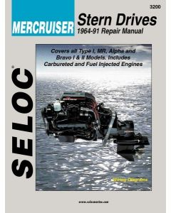 Seloc Mercruiser Stern Drives 1964-1991 Repair Manual Powered by Ford or GM 4 Cylinder, Inline 6, V6, V8