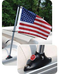 "Taylor Made 24"" Pontoon Flag Pole Socket Mount with Flag"