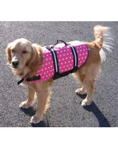 """Doggy Life Jacket/Vest Large 50-90 Lbs, 30-37"""" Chest, Foam/Nylon, Pink Polka Dot/White -Paws Aboard"""