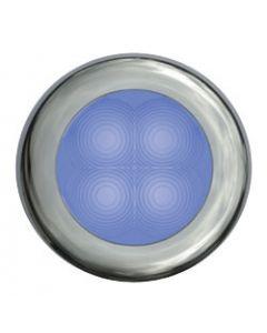 Hella Led Slim Line Blue Lamp, Courtesy, Round, 12v, Stainless Steel Rim