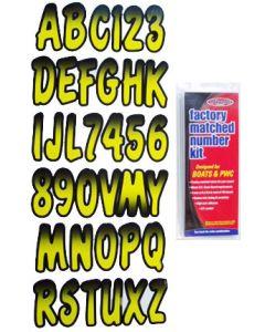 "Hardline Series 200 3"" Boat Decal Letter & Number Set, Yellow/Black"