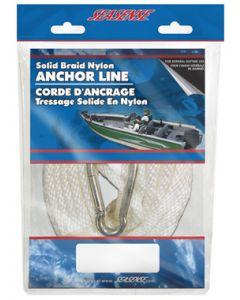 "Seasense 3/8""x35' Solid Braid Nylon Anchor Line, White"