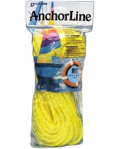 "Unicord Hollow Braided Polypropylene Anchor Line, HB, 1/4""x50' with Hook"