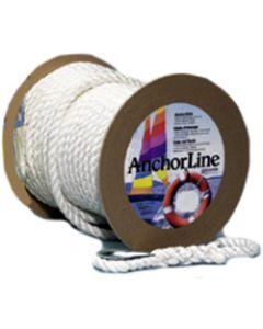 """Unicord Twisted Nylon Anchor Line, TW, 1/2""""x150', White"""