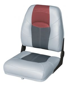 Wise Blast-Off Tour Series High Back Folding Boat Seat, Gray-Charcoal-Red