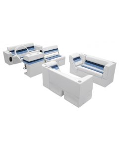 Wise Deluxe Pontoon Series Large Traditional Group White Navy Blue Boat Seats