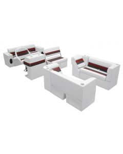 Wise Deluxe Pontoon Series Large Traditional Group White Red Charcoal Boat Seats