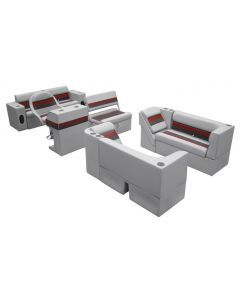 Wise Deluxe Pontoon Series Large Traditional Group Gray Red Charcoal Boat Seats