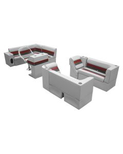 Wise Deluxe Pontoon Complete Boat Group G, Gray-Charcoal-Red