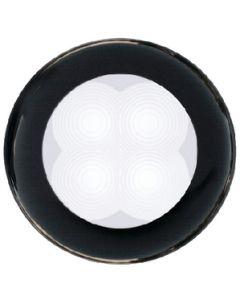 Hella Led Slim Line White Lamp, Courtesy, Round, 12v, Black Plastic Rim