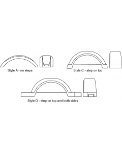"""Fulton Step Top & Sides, for 15"""" Tires, White"""