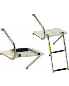Garelick Platform, O/B, White, with 2-Step Ladder Boat Swim Platforms