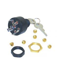 MarineWorks Ignition Switch, OFF-RUN-START, 6 Screw Tab, Push to Choke, 11-MP41000