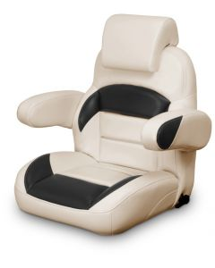 Lexington Low Back Reclining Helm Seat with Arms & Headrest, Tan and Black
