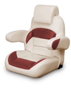 Lexington Low Back Reclining Helm Seat with Arms & Headrest, Tan and Red